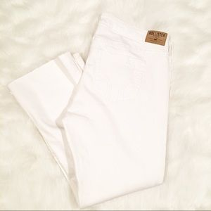 Hollister NWT solid white distressed hem jeans 15
